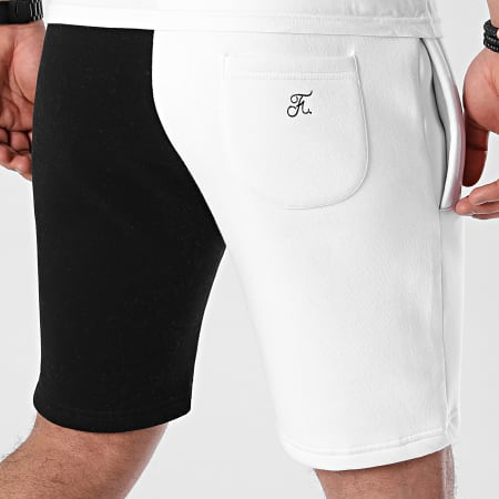 Final Club - Short Jogging Premium Fit Bicolore Avec Broderie 577 Noir Blanc