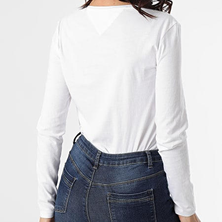 Tommy Jeans - Tee Shirt Manches Longues Femme Slim Lala 9928 Blanc