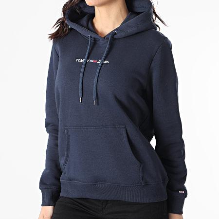 Tommy Jeans - Sweat Capuche Femme Linear Logo 0132 Bleu Marine