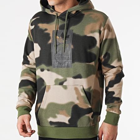adidas - Sweat Capuche Camouflage GN1879 Vert Kaki Marron Noir