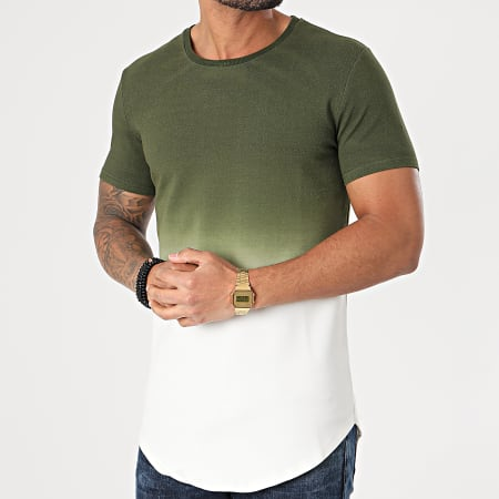 John H - Tee Shirt Oversize XW931 Vert Kaki Blanc Dégradé