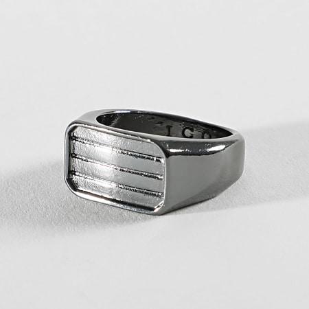 Icon Brand - Bague Pinstripe Signet Noir
