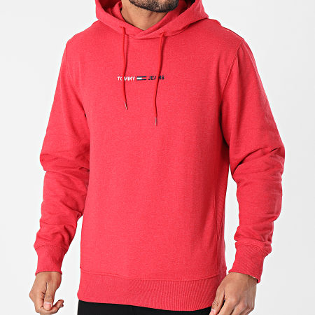 Tommy Jeans - Sweat Capuche Straight Logo 0190 Rouge Chiné