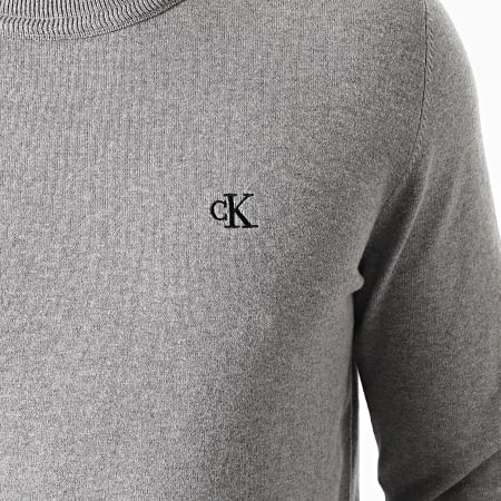 Calvin Klein Jeans - Pull Monogram Chest Logo 7118 Gris Chiné