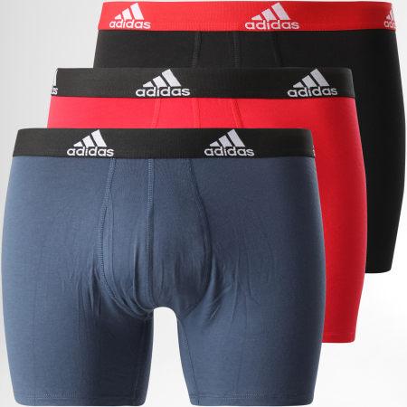 adidas - Lot De 3 Boxers Bos GN2018 Rouge Bleu Marine Noir