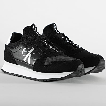 Calvin Klein - Baskets Femme Runner Sock Lace Up 0075 Black