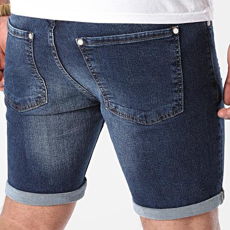 LBO - Short Jean Skinny Fit Avec Dechirures 1467 Denim Bleu Foncé