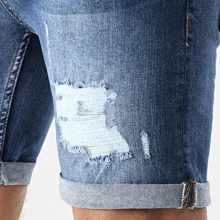 LBO - Short Jean Skinny Fit Avec Dechirures 1468 Denim Bleu Medium
