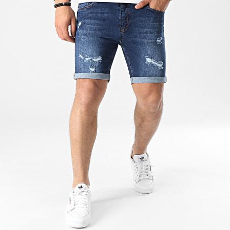LBO - Short Jean Skinny Fit Avec Dechirures 1471 Denim Bleu Foncé