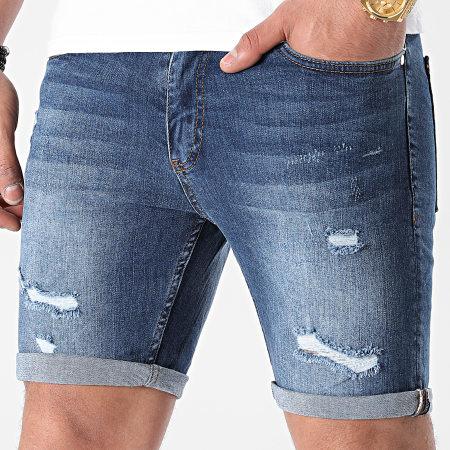 LBO - Short Jean Skinny Fit Avec Dechirures 1472 Denim Bleu Medium