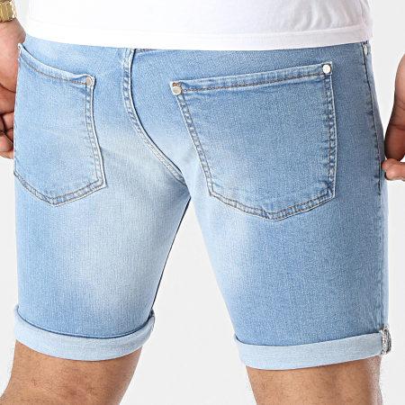 LBO - Short Jean Skinny Fit Avec Dechirures 1473 Denim Bleu Clair
