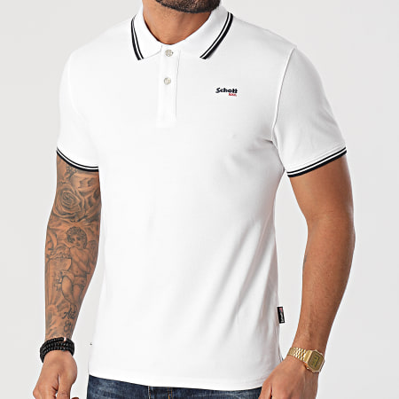 Schott NYC - Polo Manches Courtes PSWILL Blanc