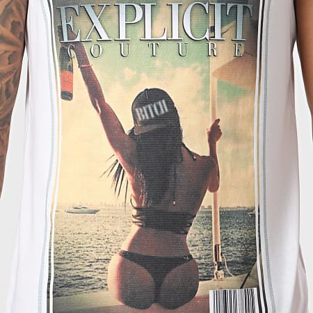 Thug N Swag - Débardeur Explicit Couture Champagne Girl Blanc