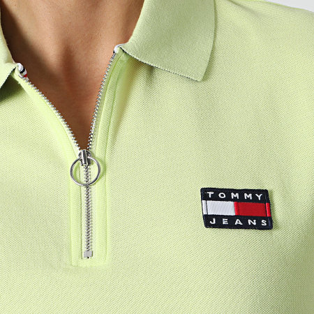 Tommy Jeans - Polo Manches Courtes Femme Tommy Badge Vert Anis