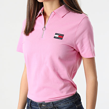 Tommy Jeans - Polo Manches Courtes Femme Tommy Badge 9146 Rose