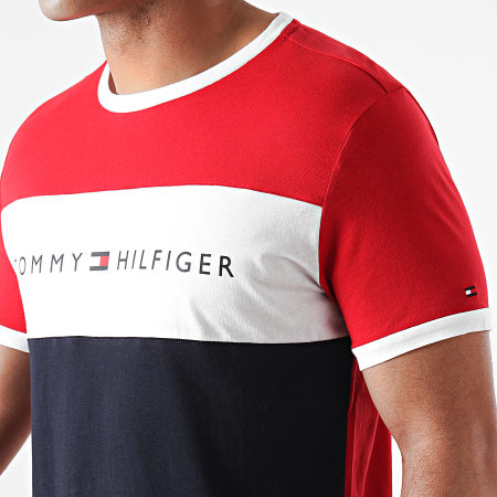 Tommy Hilfiger - Tee Shirt Tricolore Logo Flag 1170 Rouge Bleu Marine