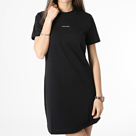 Calvin Klein - Robe Tee Shirt Femme Micro Branding 5664 Noir
