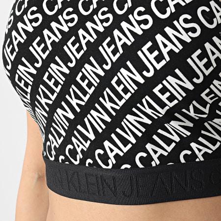 Calvin Klein - Débardeur Crop Femme Milano Logo AOP 5695 Noir Blanc