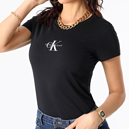 Calvin Klein Jeans - Tee Shirt Femme Monogram Classic 6577 Noir