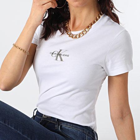 Calvin Klein Jeans - Tee Shirt Femme Monogram Classic 6577 Blanc