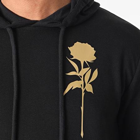 Roses - Sweat Capuche Orient Mono Noir Doré
