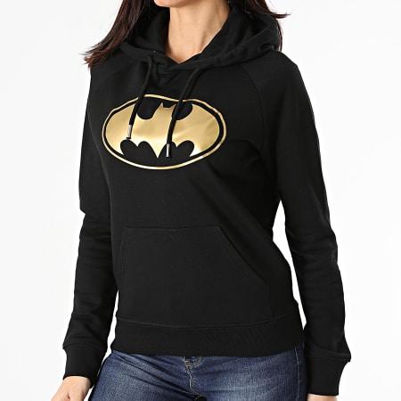 Batman - Sweat Capuche Femme Logo Noir Doré