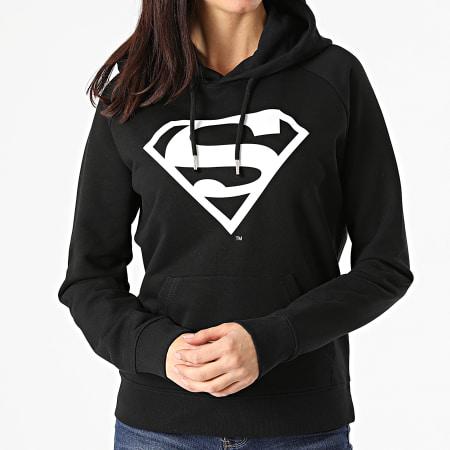 Superman - Sweat Capuche Femme Logo Noir Blanc