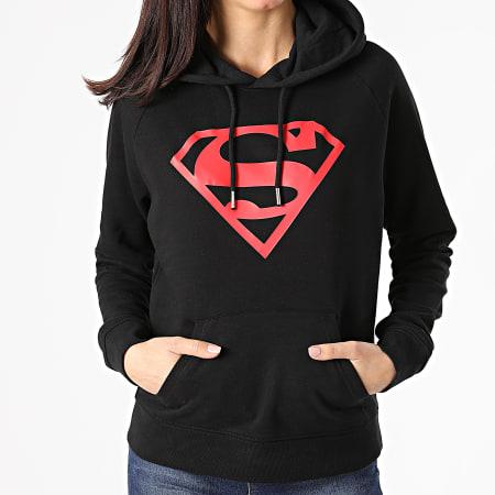 Superman - Sweat Capuche Femme Logo Noir Rouge