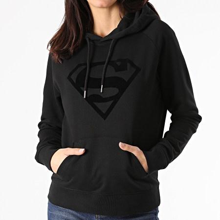 Superman - Sweat Capuche Femme Logo Noir Noir