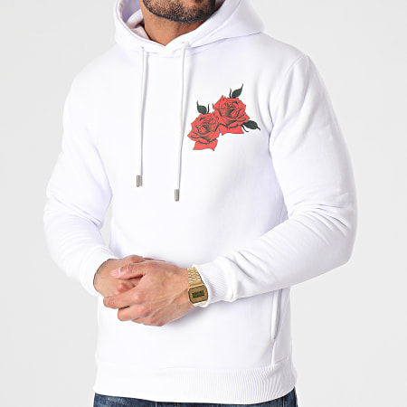 Roses - Sweat Capuche Quadri Blanc