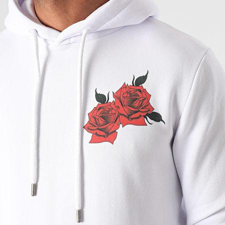 Roses - Sweat Capuche Back Blanc