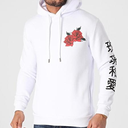 Roses - Sweat Capuche Orient Blanc