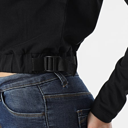 The North Face - Tee Shirt Crop Femme Manches Longues Black Box A557S Noir
