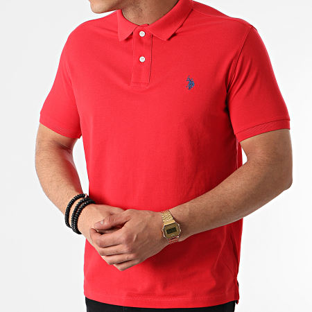 US Polo ASSN - Polo Manches Courtes Institutional Rouge