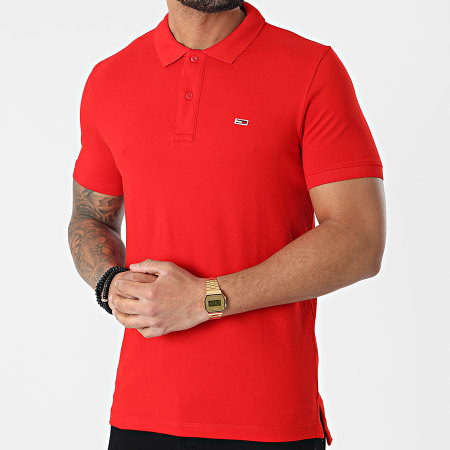 Tommy Jeans - Polo Manches Courtes Classics Solid Stretch 9439 Rouge