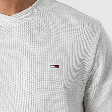 Tommy Jeans - Tee Shirt Manches Longues Mini Waffle Jaspe 0287 Ecru Chiné