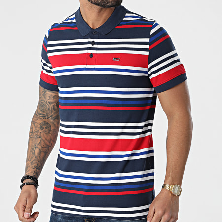 Tommy Jeans - Polo Manches Courtes A Rayures Seasonal Stripe 0321 Bleu Marine Rouge Blanc