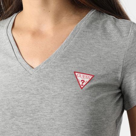Guess - Tee Shirt Slim Femme Col V W1GI17-J1311 Gris Chiné