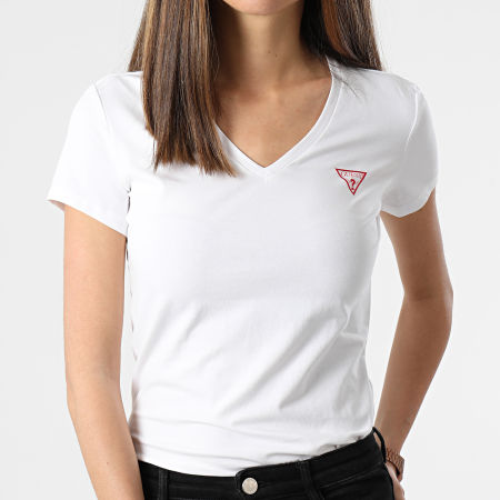 Guess - Tee Shirt Slim Femme Col V W1GI17-J1311 Blanc