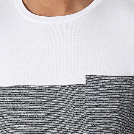 Tom Tailor - Tee  Shirt Poche 1024871-XX-12 Blanc Bleu Marine