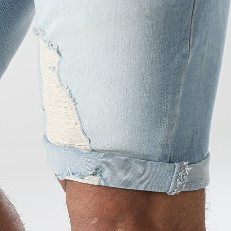 SikSilk - Short Jean Slim Distressed Denim 18089 Bleu Wash