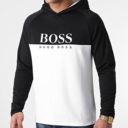 BOSS By Hugo Boss - Tee Shirt Manches Longues A Capuche Jacquard 50451561 Noir Blanc