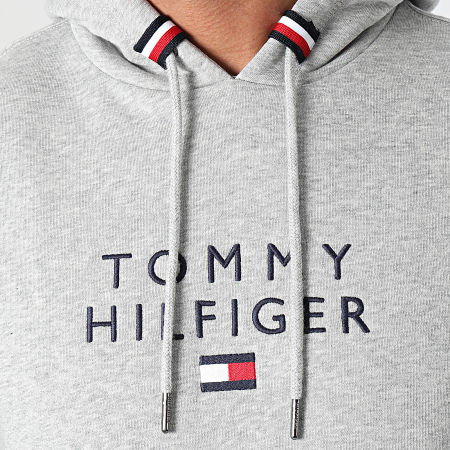 Tommy Hilfiger - Sweat Capuche Stacked Tommy Flag 7397 Gris Chiné