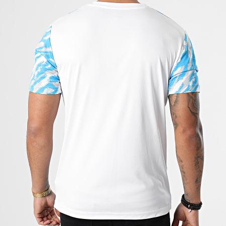 Puma - Tee Shirt De Sport OM Iconic MCS Graphic 758657 Blanc Bleu Clair