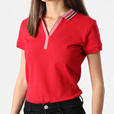 Tommy Hilfiger - Polo Manches Courtes Femme Slim Tipping 0580 Rouge