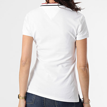 Tommy Hilfiger - Polo Manches Courtes Femme Slim Tipping 0580 Blanc