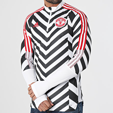adidas - Sweat Col Zippé A Bandes Manchester United AOP GK9413 Blanc Noir