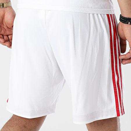 adidas - Short De Sport A Bandes Manchester United FM4289 Blanc