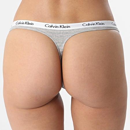 Calvin Klein - String Femme D1617E Gris Chiné Rose