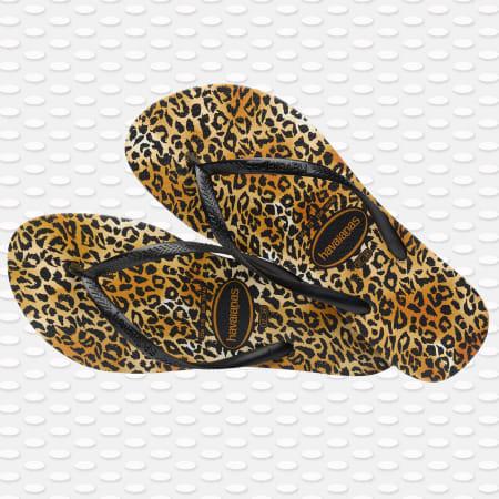 Havaianas - Tongs Femme Slim Leopard Noir Orange